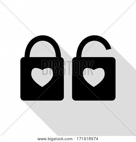 lock sign with heart shape. A simple silhouette of the lock. Shape of a heart. Black icon with flat style shadow path.