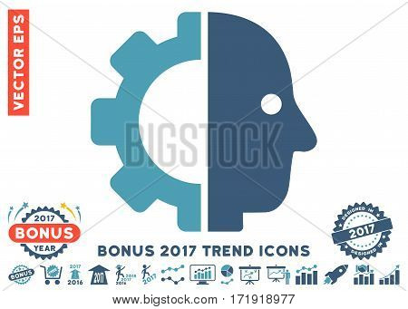 Cyan And Blue Cyborg Head icon with bonus 2017 trend design elements. Vector illustration style is flat iconic bicolor symbols white background.