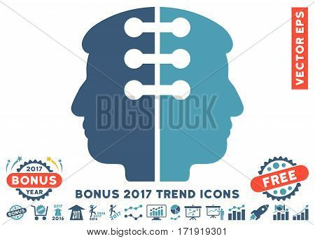 Cyan And Blue Dual Head Interface icon with bonus 2017 trend elements. Vector illustration style is flat iconic bicolor symbols white background.