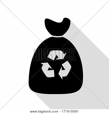 Trash bag icon. Black icon with flat style shadow path.