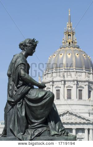 Statue With City Hall Dome Portrait