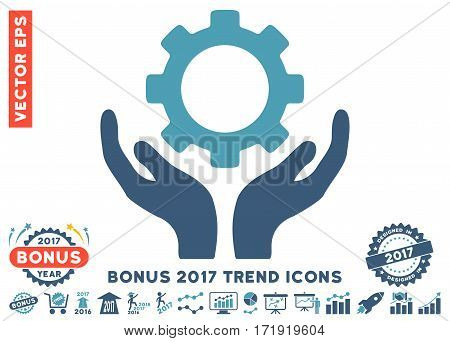 Cyan And Blue Gear Maintenance Hands pictogram with bonus 2017 year trend pictograms. Vector illustration style is flat iconic bicolor symbols white background.