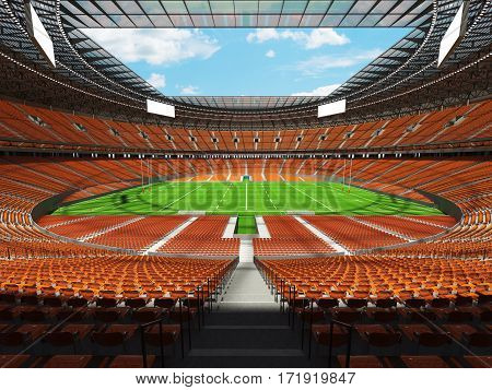 3D Render Of A Round Rugby Stadium With Orange Seats And Vip Boxes