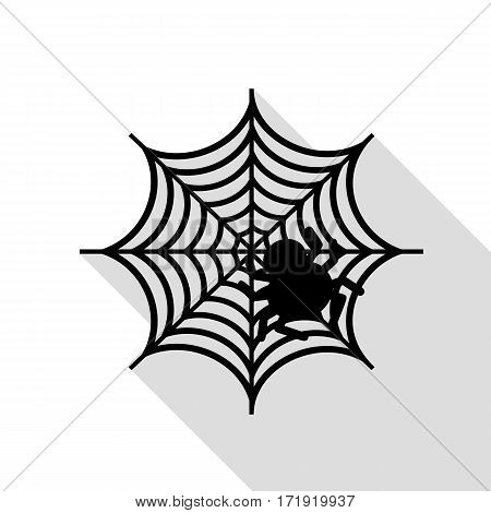 Spider on web illustration Black icon with flat style shadow path.