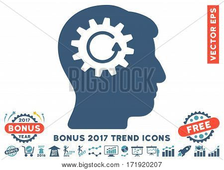 Cyan And Blue Head Gear Rotation icon with bonus 2017 trend clip art. Vector illustration style is flat iconic bicolor symbols white background.