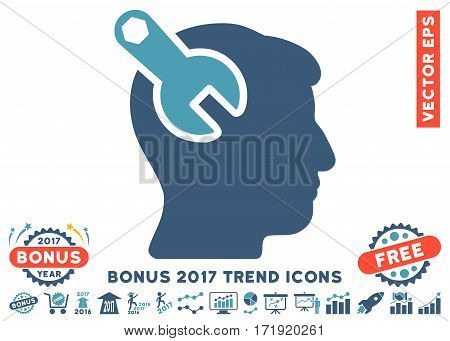 Cyan And Blue Head Neurology Wrench icon with bonus 2017 year trend elements. Vector illustration style is flat iconic bicolor symbols white background.