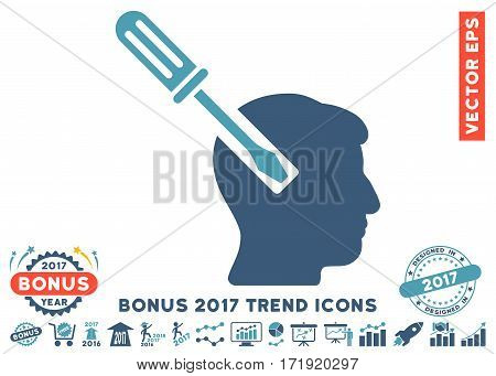 Cyan And Blue Head Screwdriver Tuning pictograph with bonus 2017 year trend elements. Vector illustration style is flat iconic bicolor symbols white background.