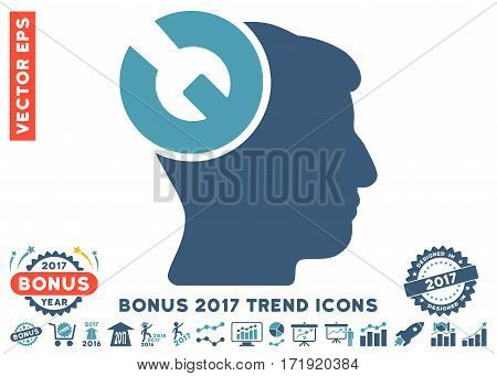 Cyan And Blue Head Surgery Wrench pictogram with bonus 2017 year trend pictograms. Vector illustration style is flat iconic bicolor symbols white background.