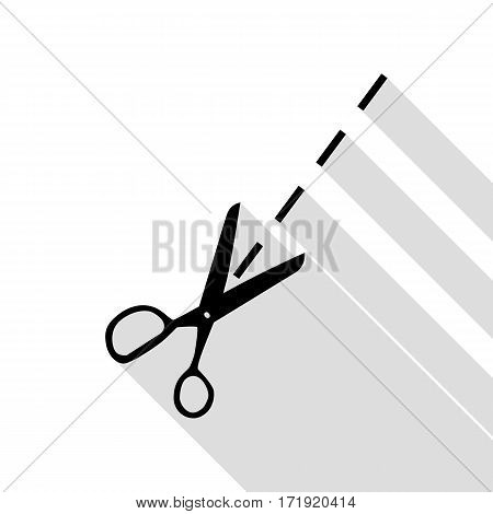 Scissors sign illustration. Black icon with flat style shadow path.