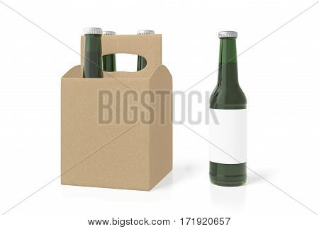 Blank Beer Packaging With Green Bottles