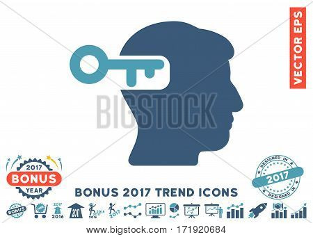 Cyan And Blue Intellect Key pictograph with bonus 2017 trend images. Vector illustration style is flat iconic bicolor symbols white background.
