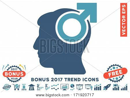 Cyan And Blue Intellect Potency pictogram with bonus 2017 trend icon set. Vector illustration style is flat iconic bicolor symbols white background.
