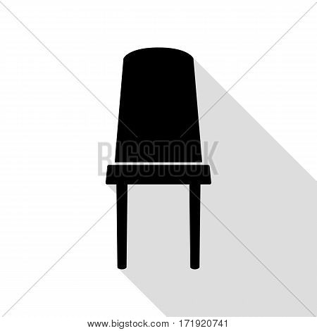 Office chair sign. Black icon with flat style shadow path.