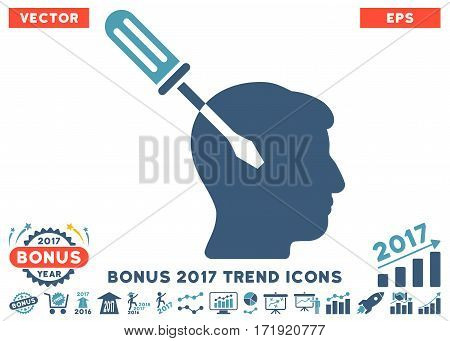 Cyan And Blue Intellect Screwdriver Tuning pictograph with bonus 2017 trend design elements. Vector illustration style is flat iconic bicolor symbols white background.