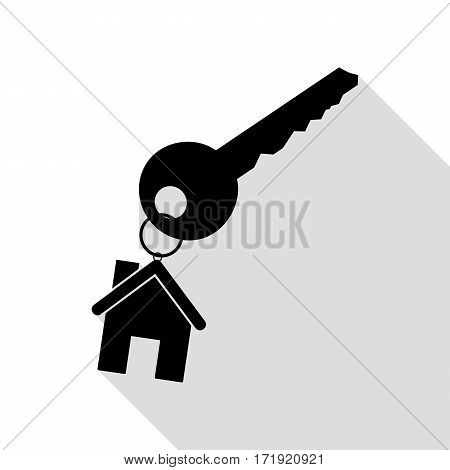 key with keychain as an house sign. Black icon with flat style shadow path.