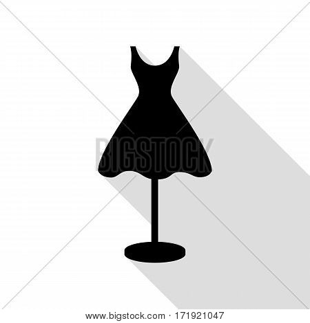Mannequin with dress sign. Black icon with flat style shadow path.
