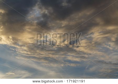 Cumulus clouds against a blue sky. Overcast. Weather forecast.