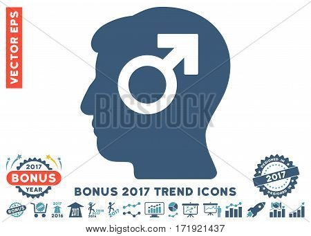 Cyan And Blue Mind Potency pictogram with bonus 2017 trend icon set. Vector illustration style is flat iconic bicolor symbols white background.