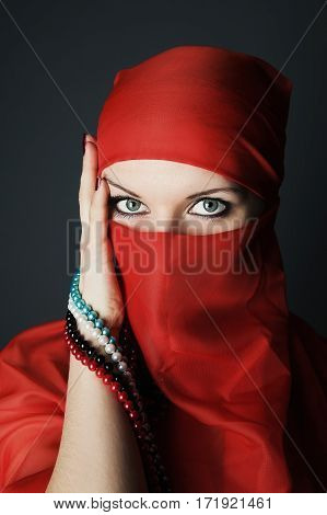 Young Arabic Woman Beauty Close Up Portrait Studio Shot
