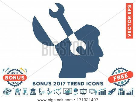 Cyan And Blue Mind Wrench Tools pictograph with bonus 2017 year trend elements. Vector illustration style is flat iconic bicolor symbols white background.