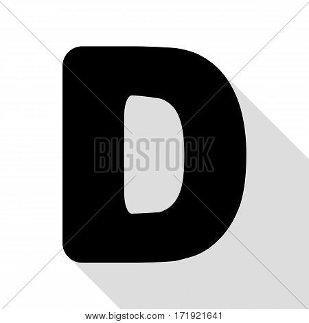 Letter D sign design template element. Black icon with flat style shadow path.