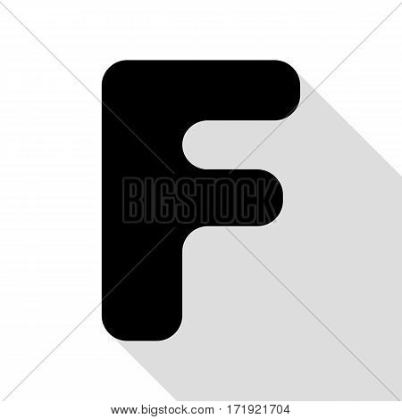 Letter F sign design template element. Black icon with flat style shadow path.