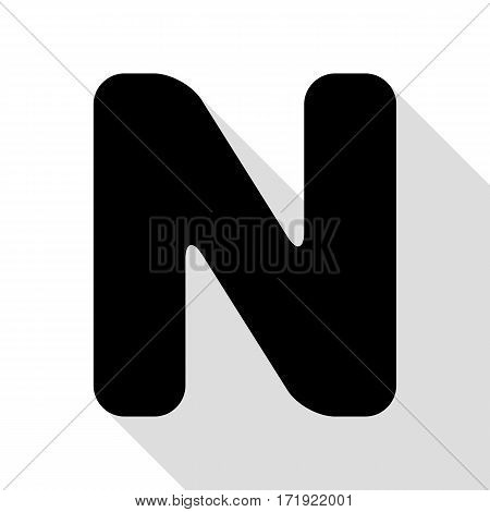 Letter N sign design template element. Black icon with flat style shadow path.