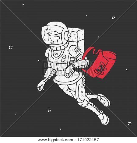 Girl in Space Vector Illustration eps 8 file format