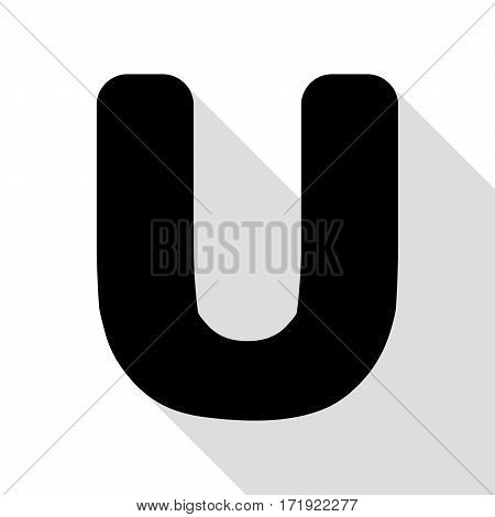 Letter U sign design template element. Black icon with flat style shadow path.