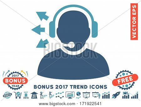 Cyan And Blue Operator Answer Speech pictograph with bonus 2017 trend symbols. Vector illustration style is flat iconic bicolor symbols white background.