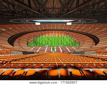 3D render of a round rugby stadium with orange seats and VIP boxes for hundred thousand people