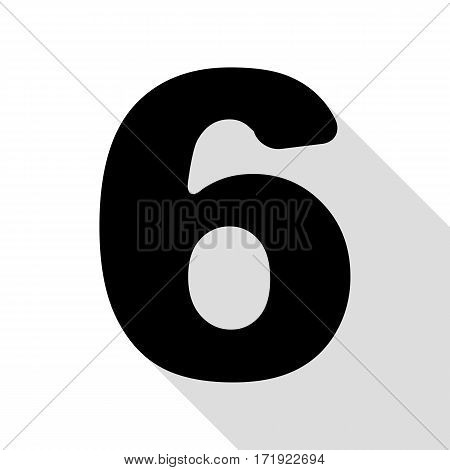 Number 6 sign design template element. Black icon with flat style shadow path.