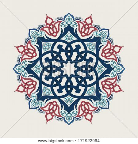 Mandala Round Ornament Pattern. islamic style vector background. Hand drawn design. Ethnic motifs.