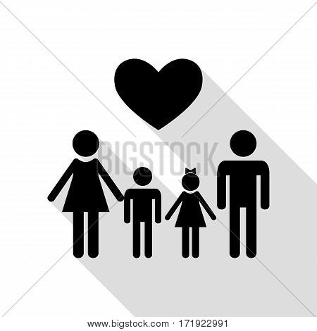 Family symbol with heart. Husband and wife are kept children's hands. Black icon with flat style shadow path.