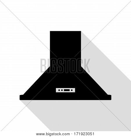 Exhaust hood. Kitchen ventilation sign. Black icon with flat style shadow path.