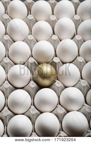 Golden Egg Standing Out from a Large Group of Ordinary white Eggs