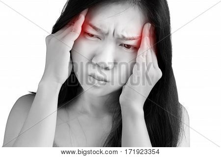 Headache Symptom In A Woman Isolated On White Background. Clipping Path On White Background