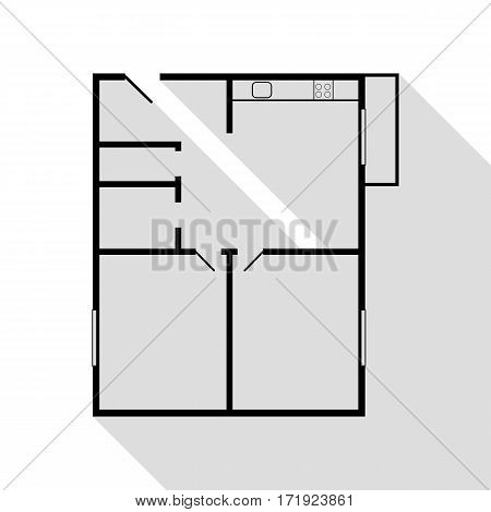 Apartment house floor plans. Black icon with flat style shadow path.