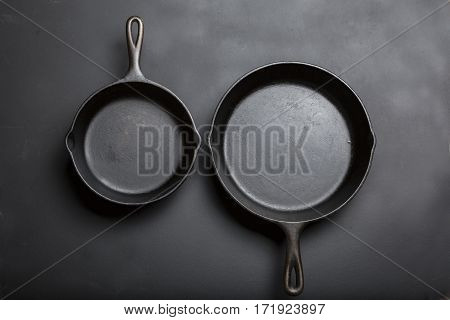 Cast Iron Skillet stacked side by side