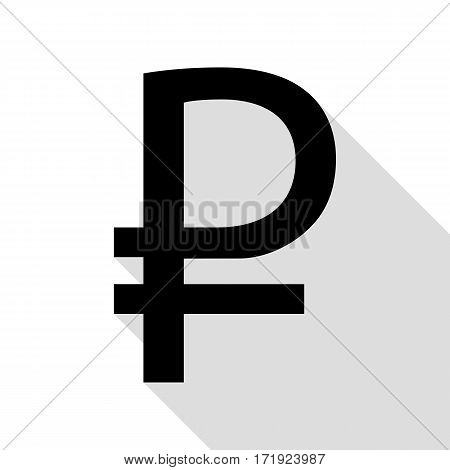 Ruble sign. Black icon with flat style shadow path.