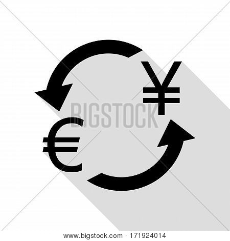 Currency exchange sign. Euro and Japan Yen. Black icon with flat style shadow path.