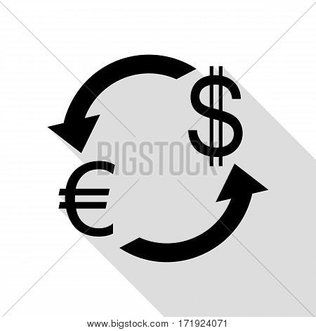 Currency exchange sign. Euro and Dollar. Black icon with flat style shadow path.