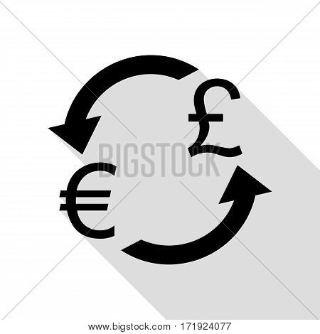 Currency exchange sign. Euro and UK Pound. Black icon with flat style shadow path.
