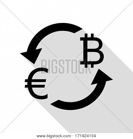 Currency exchange sign. Euro and Bitkoin. Black icon with flat style shadow path.