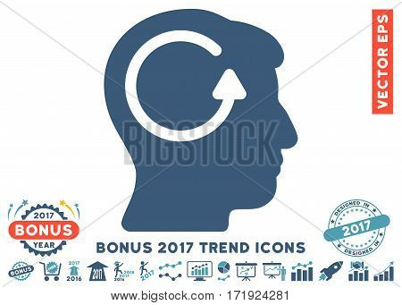 Cyan And Blue Refresh Head Memory pictogram with bonus 2017 trend symbols. Vector illustration style is flat iconic bicolor symbols white background.