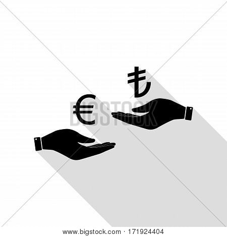 Currency exchange from hand to hand. Euro and Lira. Black icon with flat style shadow path.