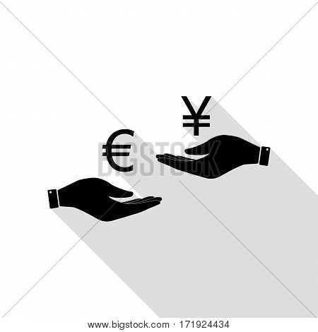 Currency exchange from hand to hand. Euro and Yen. Black icon with flat style shadow path.