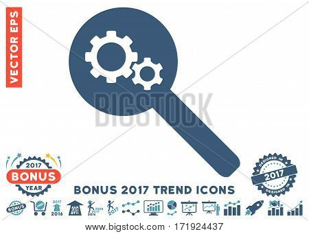 Cyan And Blue Search Gears Tool pictograph with bonus 2017 year trend clip art. Vector illustration style is flat iconic bicolor symbols white background.
