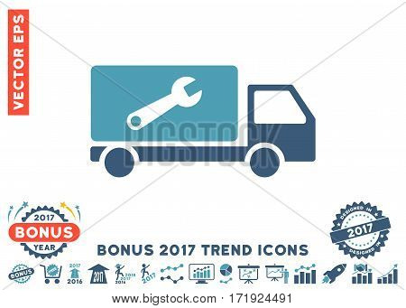 Cyan And Blue Service Car pictogram with bonus 2017 year trend clip art. Vector illustration style is flat iconic bicolor symbols white background.