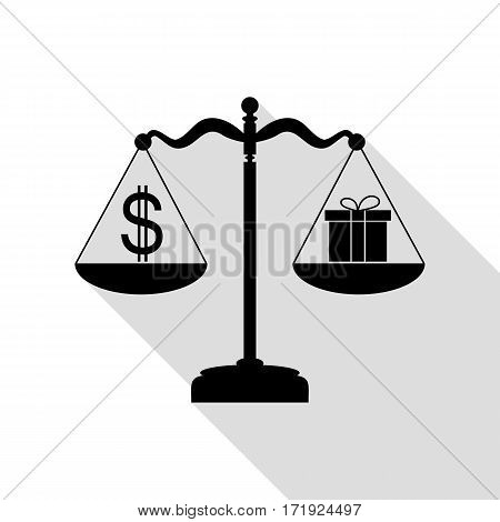 Gift and dollar symbol on scales. Black icon with flat style shadow path.